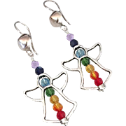 Swarovski Crystal - Chakra Angel Dangle Earrings