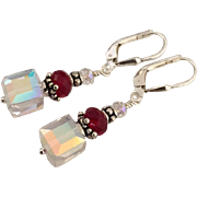 Dazzling - Swarovski Crystal Aurora Borealis Cubes, Facet Cut Red Swarovski Crystal, Sterling Silver Dangle Earrings