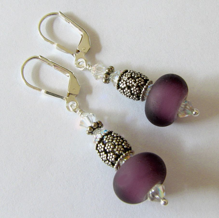 Etched Plum Purple, Italian Moretti Glass Lampwork Beaded, Sterling Silver Dangle Earrings