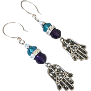 Swarovski Crystal - Hamsa Hands - Dangle Earrings