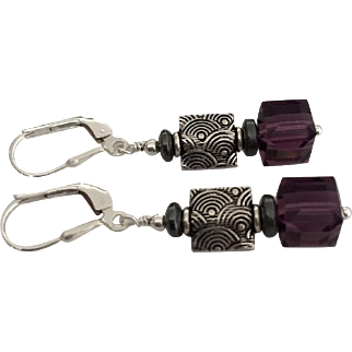 Purple Amethyst Swarovski Crystal, Sterling Silver Dangle Earrings