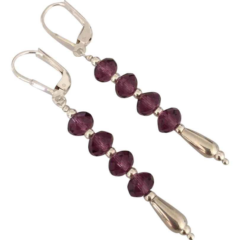 Mesmerizing ! Vivid Purple Amethyst Swarovski Crystal, Sterling Silver Dangle Earrings
