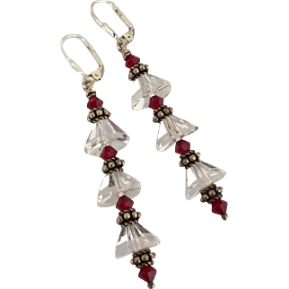 Facet Cut - Dazzling - Natural Icy Quartz Crystal, Swarovski Crystal, Bali Sterling Silver Dangle Earrings