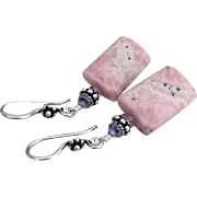 Rhodochrosite, Swarovski Crystal, Bali Sterling Silver Dangle Earrings