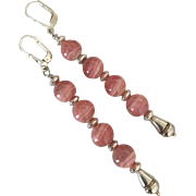 Mesmerizing Rhodochrosite, Sterling Silver - 3 Inch Dangle Earrings