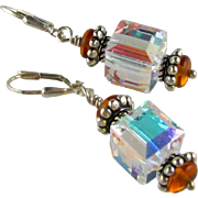 Dazzling - Swarovski Crystal 10mm Aurora Borealis Cubes, Baltic Amber, Sterling Silver Dangle Earrings