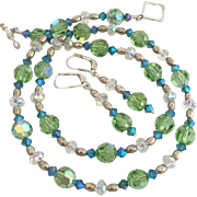 Dazzling - Swarovski Crystal - Peridot Green and Blue Indicolite - Necklace and Earrings