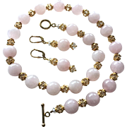 Rose Quartz, Swarovski Crystal, Vermeil - Beaded Necklace and Earrings