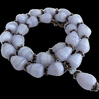 Blue Lace Agate Teardrops, Bali Sterling Silver Necklace