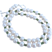 Cultured Freshwater Pearl, Green Tourmaline Gemstone Necklace