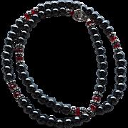 Hematite, Bali Sterling Silver, Red Swarovski Crystal - 26 Inch Necklace