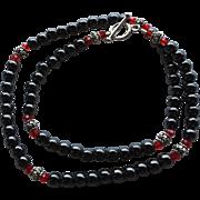 Hematite, Bali Sterling Silver, Red Swarovski Crystal - 20 Inch Necklace