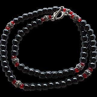 Timeless - Steely Hematite, Bali Sterling Silver, Swarovski Crystal - 20 Inch Necklace