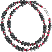 Hematite Rondelles, Bali Sterling Silver, Swarovski Crystal - 22 Inch Necklace