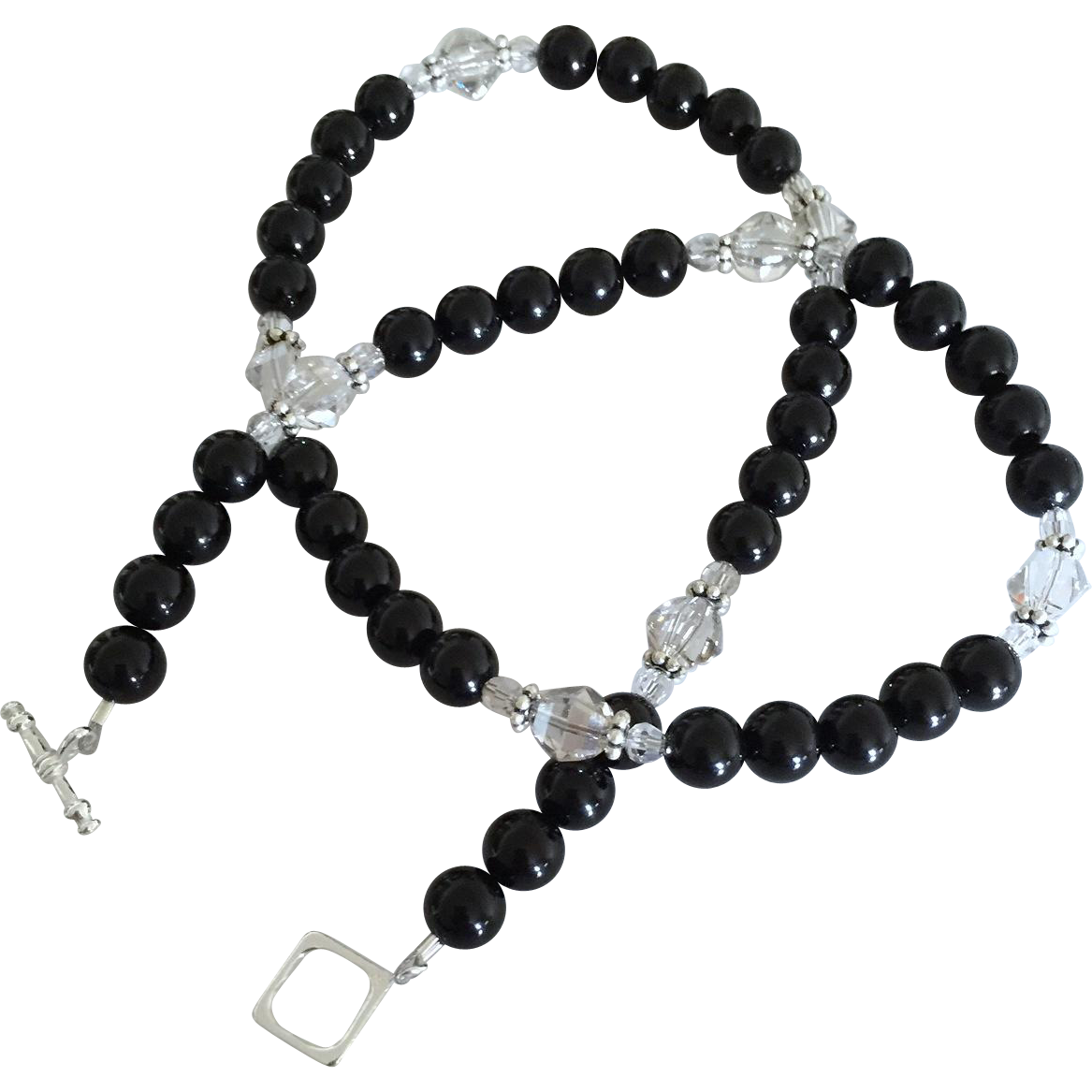 Black Onyx and Silver Shade Swarovski Crystal - 20 Inch Necklace