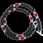 Black Onyx and Siam Red Swarovski Crystal - 20 Inch Necklace