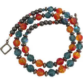 Dazzling - Swarovski Crystal - Orange Fire Opal and Blue Indicolite - Blackened Sterling Silver Necklace