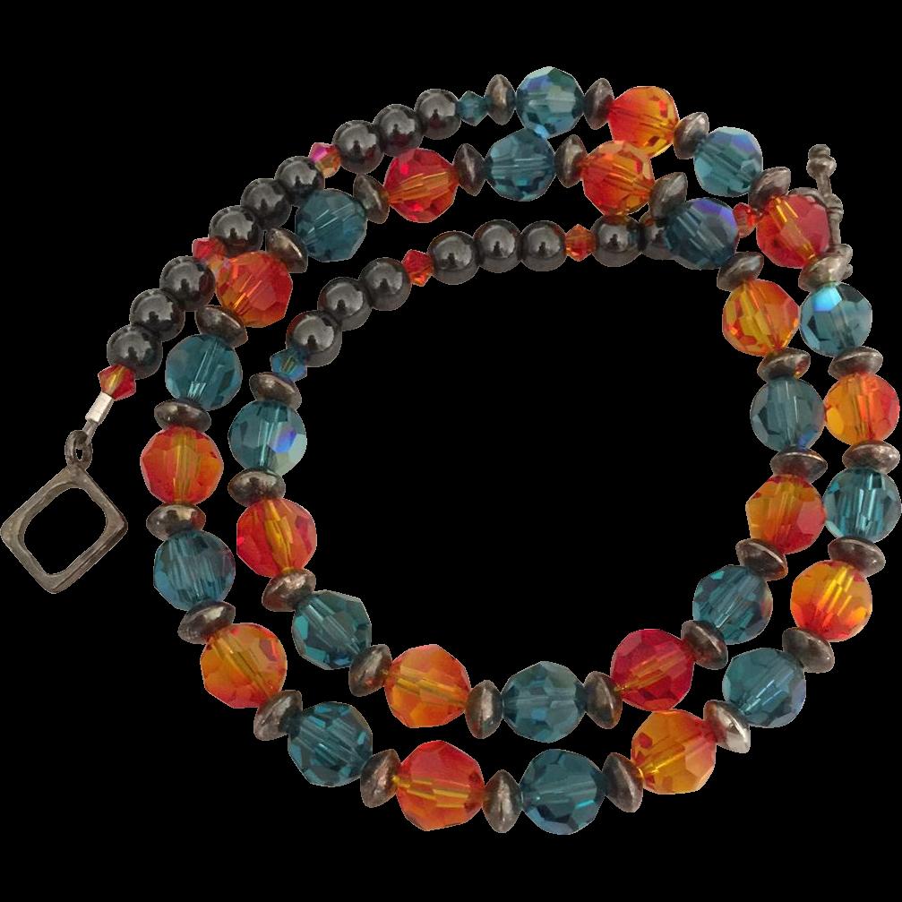 Dazzling - Swarovski Crystal - Orange Fire Opal and Blue Indicolite - Blackened Sterling Silver Necklace