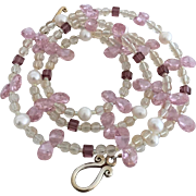 Pink Facet Cut Cubic Zirconia, Cultured Freshwater Pearl, Citrine and Crystal - 26 Inch Necklace