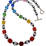 Rainbow Swarovski Crystal, Bali Sterling Silver Necklace