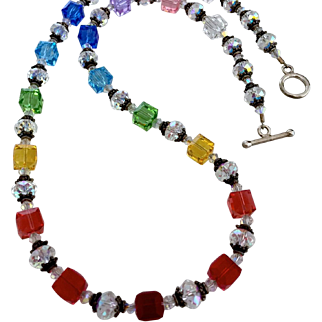 Rainbow Swarovski Crystal, Bali Sterling Silver Necklace