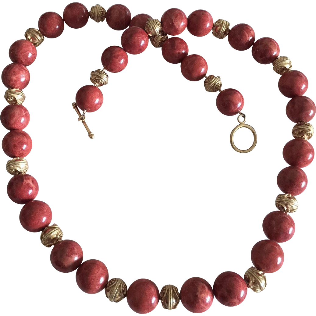 16 mm Red Sponge Coral, 10 mm Bali Vermeil - 26 1/2 Inch Necklace