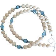 Creamy Riverstone and Aqua Blue Swarovski Crystal - 20 Inch Necklace
