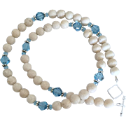 Creamy Riverstone and Aqua Blue Swarovski Crystal - 20 Inch Necklace