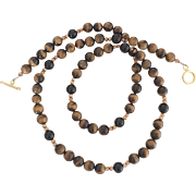 8 mm - Timeless Tigereye, Swarovski Crystal, Onyx - 26 Inch Necklace