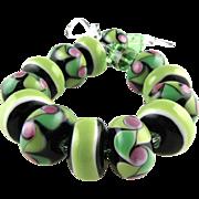 Chartreuse Green, Italian Moretti Glass Lampwork, Swarovski Crystal Bracelet