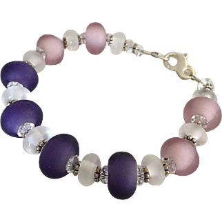Etched Italian Moretti Glass - Purple, Pink and White - Lampwork Beaded Bracelet