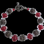 Red Boro Blush Lampwork Beaded, Bali Sterling Silver, Swarovski Crystal Bracelet