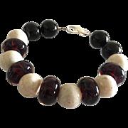 Deep Red Boro Glass Lampwork Beaded, Creamy River Stone, Black Onyx Bracelet
