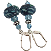 Blue Boro Prisms - Artisan Boro Glass Lampwork Beaded, Swarovski Crystal, Sterling Silver Dangle Earrings