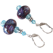 Color Shifting - Boro Plum Prisms - Artisan Glass Lampwork Beaded, Swarovski Crystal, Sterling Silver Dangle Earrings