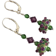 Contrasting - Italian Moretti Glass Artisan Lampwork, Swarovski Crystal, Sterling Silver Dangle Earrings