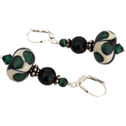 Emerald Pools, Italian Moretti Glass, Lampwork Beaded, Onyx, Malachite, Sterling Silver Dangle Earrings