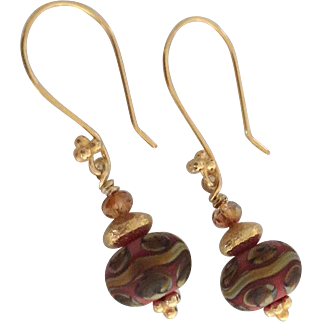 Etched Coral Orange and Raku - Artisan Lampwork Glass, Swarovski Crystal, Vermeil Dangle Earrings