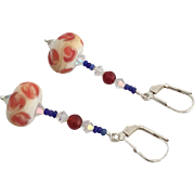 Etched Italian Moretti Glass - Artisan Lampwork Beaded Dangle Earrings