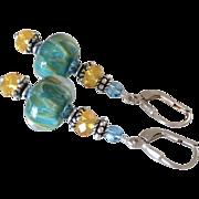Green Color Shifting Boro - Artisan Glass Lampwork Beaded, Swarovski Crystal, Sterling Silver Dangle Earrings