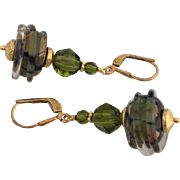Olive Raku - Italian Moretti Glass, Lampwork Beaded, Swarovski Crystal, Vermeil Dangle Earrings - Wearable Art !