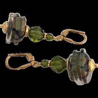 Olive Raku - Italian Moretti Glass, Lampwork Beaded, Swarovski Crystal, Vermeil Dangle Earrings - Wearable Art !