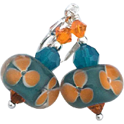 Orange Florals - Artisan Boro Glass Lampwork Beaded, Swarovski Crystal, Sterling Silver Dangle Earrings