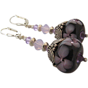 One-Of-A-Kind - Purple Blossoms - Italian Moretti Glass, Artisan Lampwork Beaded, Bali Sterling Silver, Wearable Art Dangle Earrings
