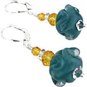 Italian Moretti Glass Artisan Lampwork, Swarovski Crystal, Sterling Silver Dangle Earrings