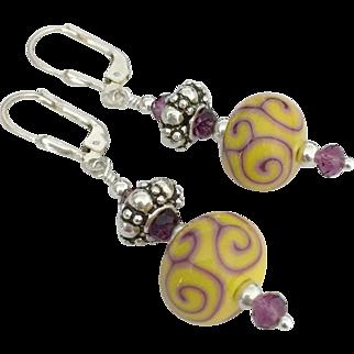 Gorgeous Sunshine Yellow and Purple Scrolling, Italian Moretti Glass, Artisan Lampwork Beaded, Swarovski Crystal, Bali Sterling Silver Dangle Earrings