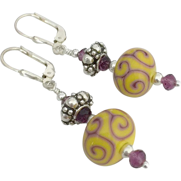 Gorgeous Sunshine Yellow and Purple Scrolling, Italian Moretti Glass, Artisan Lampwork Beaded, Swarovski Crystal, Bali Sterling Silver Dangle Earrings