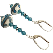 Italian Moretti Glass, Artisan Lampwork Beaded, Swarovski Crystal, Sterling Silver, Dangle Earrings