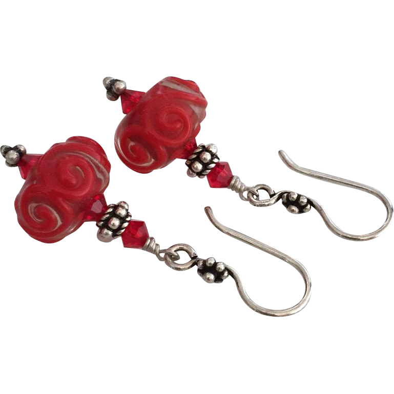 Vivid Red Swirls - Italian Moretti Glass Artisan Lampwork, Swarovski Crystal, Sterling Silver Dangle Earrings
