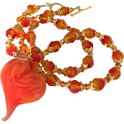Vibrant Dazzling Orange Elegance, Boro Glass Artisan Lampwork Heart Focal, Swarovski Crystal, Vermeil Necklace - One-Of-A-Kind - Wearable Art